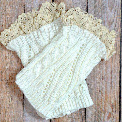 Pair of Chic Lace Edge Solid Color Hollow Out Knitted Boot Cuffs For Women - COLOR ASSORTED