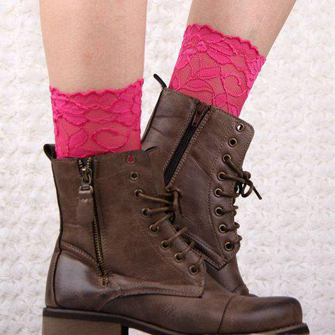 Pair of Chic Flower Jacquard Solid Color Hollow Out Lace Boot Cuffs For Women - COLOR ASSORTED