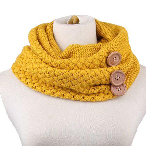 Chic Big Buttons Embellished Women's Knitted Neck Warmer - YELLOW