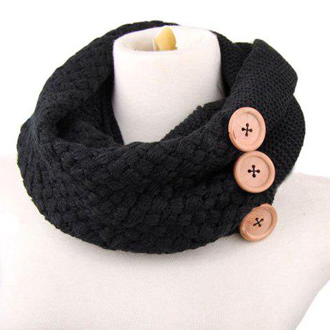 Chic Big Buttons Embellished Women's Knitted Neck Warmer - BLACK