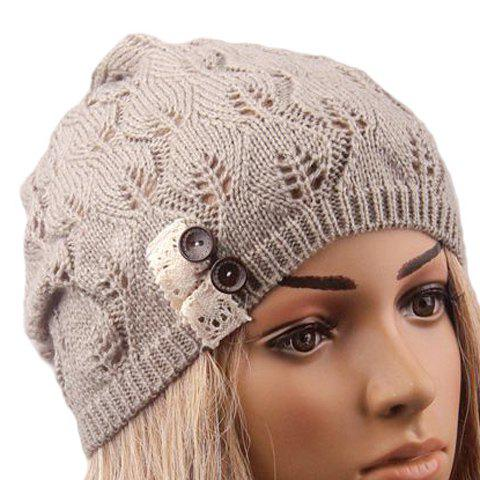 Chic Buttons and Lace Embellished Hollow Out Knitted Beanie For Women