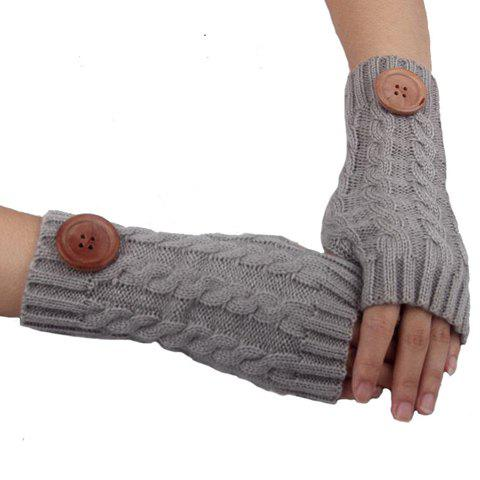 Pair of Chic Big Button Embellished Hemp Flowers Knitted Fingerless Gloves For Women