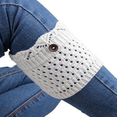Pair of Chic Button Embellished Hollow Out Women's Knitted Boot Cuffs - COLOR ASSORTED