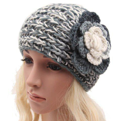 Chic Handmade Flower and Button Embellished Women's Knitted Headband - GRAY