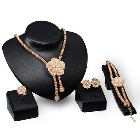A Suit of Flower Rhinestoned Necklace Bracelet Earrings and Ring - GOLDEN