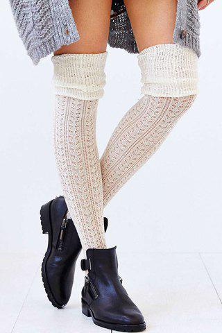 Pair of Chic Color Block Hollow Out Pleated Women's Knitted Stockings