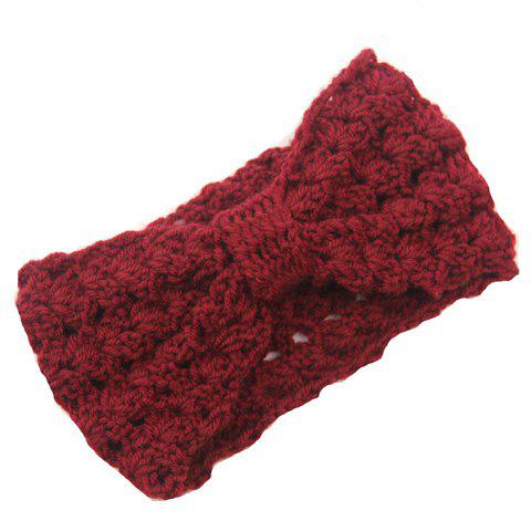 Chic Bow Shape Hollow Out Women's Knitted Headband - DARK RED