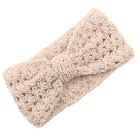 Chic Bow Shape Hollow Out Women's Knitted Headband - OFF WHITE