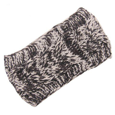 Chic Mixed Color Hemp Flowers Women's Knitted Headband - DEEP GRAY