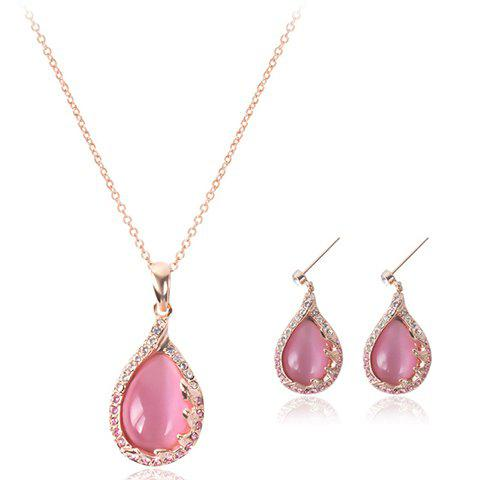 A Suit of Faux Opal Rhinestone Waterdrop Necklace and Earrings - ROSE GOLD