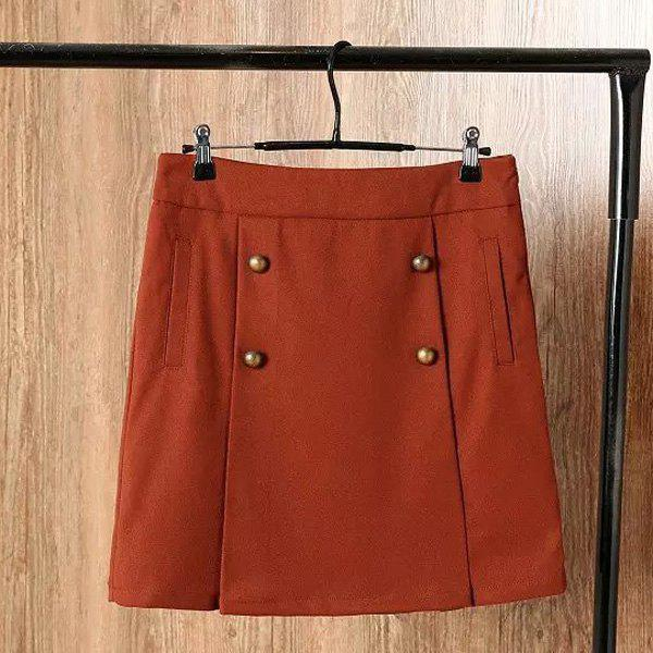 Women's Chic High Waist Solid Color Over Hip Skirt - JACINTH L