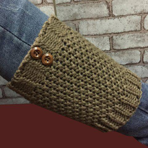 Pair of Chic Two Buttons Embellished Hollow Out Women's Knitted Boot Cuffs