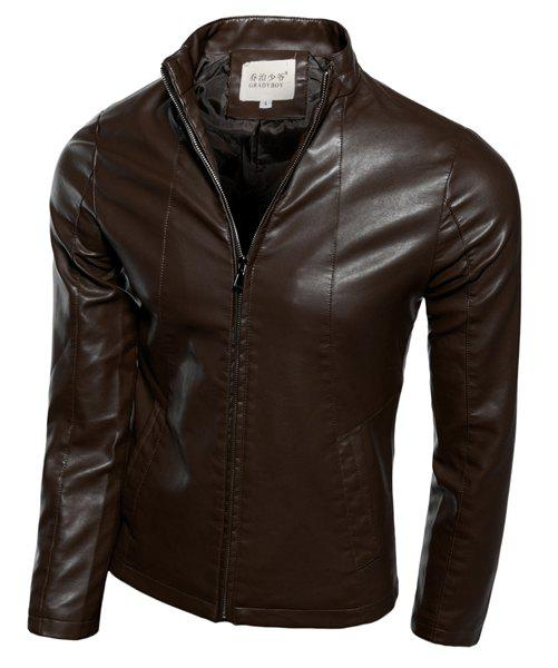 Solid Color Stand Collar Suture Stripes Zipper Cuffs Slimming Long Sleeves Men's PU-Leather Jacket - COFFEE XL