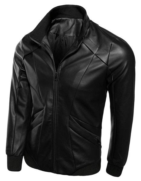 Zipper Pocket Rib Spliced Sutures Design Stand Collar Long Sleeves Slimming Men's PU Leather Jacket - BLACK 3XL