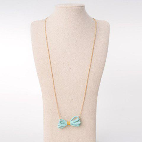 Delicate Faux Leather Bow Sweater Chain For Women - AZURE