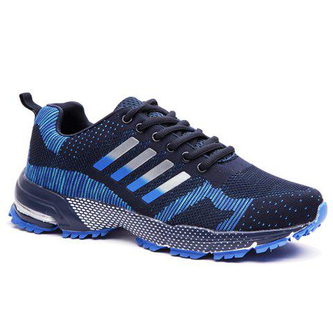 Trendy Striped and Mesh Design Athletic Shoes For Men - DEEP BLUE 41