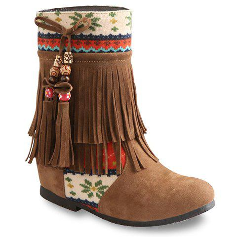 Ethntic Style Suede and Color Block Design Short Boots For Women