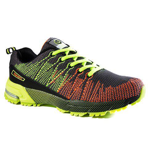 Trendy Color Block and Mesh Design Athletic Shoes For Men - GREEN 40