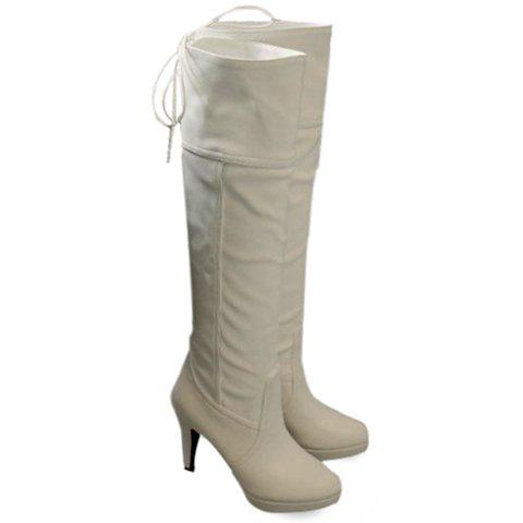 Fashionable Lace-Up and Stiletto Heel Design Knee-High Boots For Women - WHITE 42