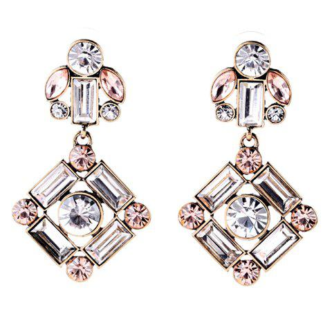 Pair of Dazzling Rhinestoned Square Earrings For Women