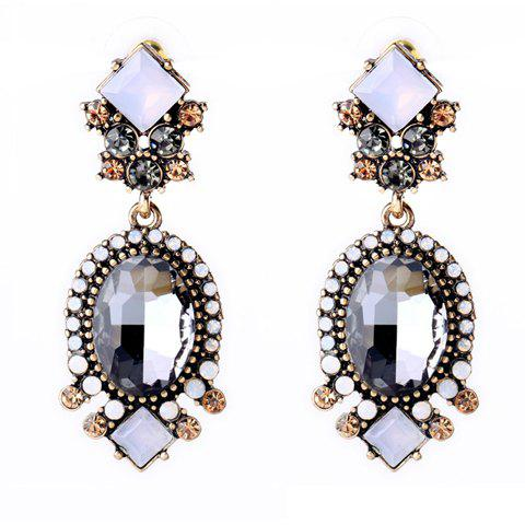 Pair of Retro Faux Crystal Square Oval Earrings For Women