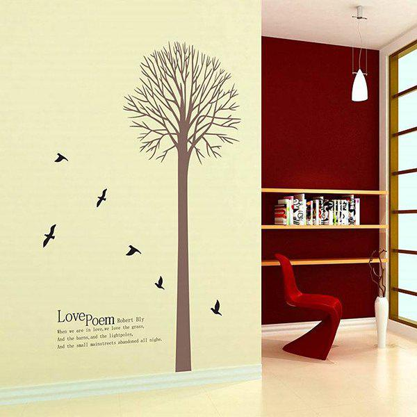 Creative Big Tree and Letter Pattern Home Decoration Decorative Wall Stickers - BROWN