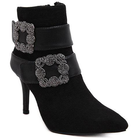 Sexy Square Buckle and Pointed Toe Design Women's Short Boots