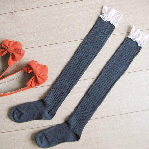 Pair of Chic Lace Edge Women's Striped Knitted Stockings - GRAY