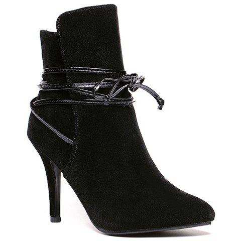 Elegant Lace-Up and Suede Design Women's High Heel Boots - BLACK 38