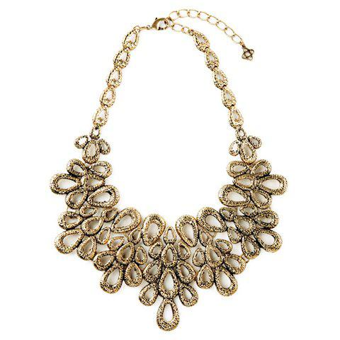 Retro Hollow Out Waterdrop Necklace For Women - GOLDEN