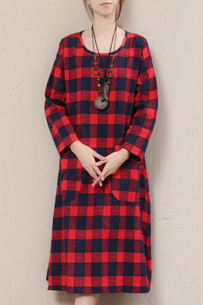 Retro Style Plaid Loose-Fitting Scoop Neck Long Sleeves Dress For Women