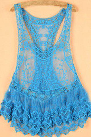 Chic Sleeveless Plunging Neck Cut Out Women's Tank Top - AZURE M