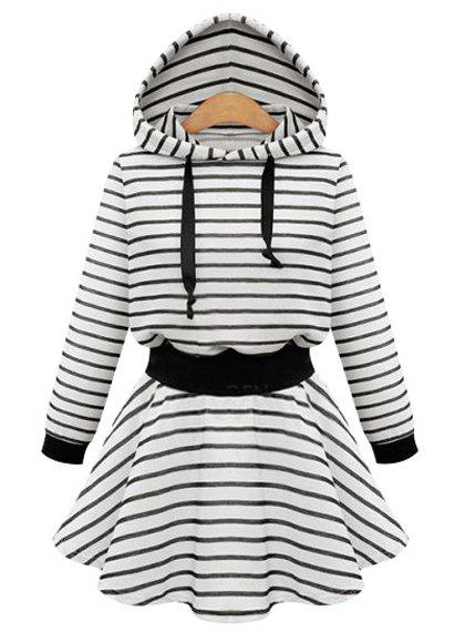 Simple Stripe Hooded Long Sleeve Dress For Women - BLACK 4XL