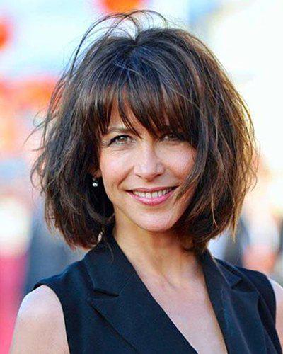 Trendy Brown Mixed Attractive Full Bang Medium Capless Shaggy Wavy Synthetic Women's Wig