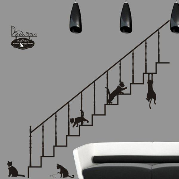 Creative Stair and Cat Pattern Home Decoration Decorative Wall Stickers - BLACK
