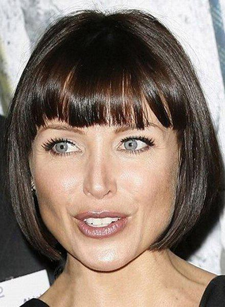 Elegant Black Mixed Brown Bob Style Short Capless Full Bang Straight Synthetic Women's Wig bob style straight black capless elegant short synthetic wig for women