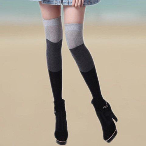 Pair of Chic Three Color Block Striped Women's Warmth Stockings - GRAY