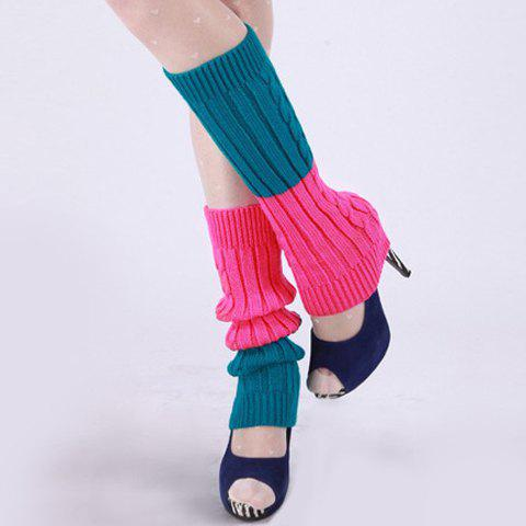 Pair of Chic Candy Color Block Women's Knitted Leg Warmers