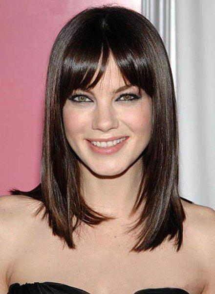 Stylish Glossy Straight Capless Charming Deep Brown Long Synthetic Side Bang Wig For Women - DEEP BROWN