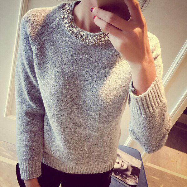 Elegant Women's Round Collar Solid Color Long Sleeves Sweater - GRAY ONE SIZE(FIT SIZE XS TO M)