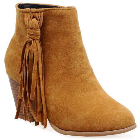 Simple Style Tassel and Suede Design Ankle Boots For Women - BROWN 37