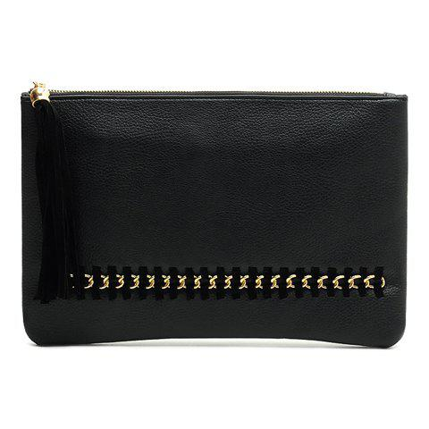 Stylsih Chains and Tassel Design Women's Clutch Bag - BLACK