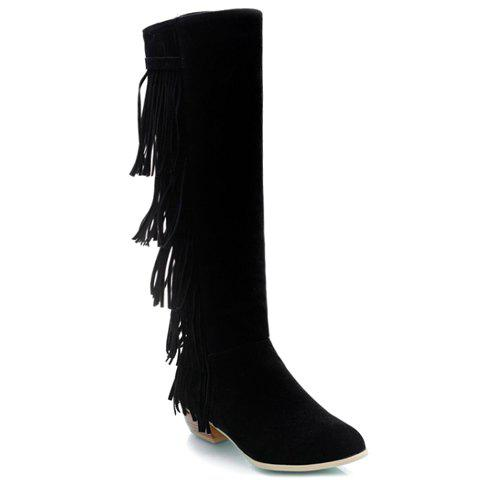 Retro Fringe and Suede Design Knee-High Boots For Women - BLACK 36