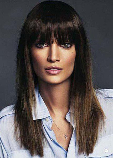 Trendy Full Bang Capless Two-Tone Mixed Long Glossy Straight Stunning Synthetic Wig For Women