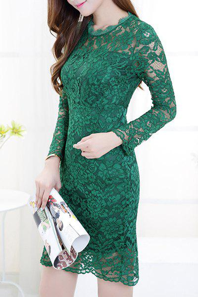 Women's Trendy Long Sleeve Pure Color Lace Splicing See-Through Dress - GREEN XL