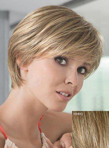 Real Human Hair Spiffy Short Capless Side Bang Fluffy Natural Straight Women's Wig - LIGHT CHOCOLATE