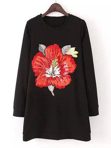 Attractive Long Sleeve Embroidered Flower Printed Dress For Women - BLACK M