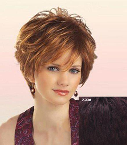 Real Human Hair Fashion Towheaded Curly Capless Elegant Side Bang Short Wig For Women - BROWN BLACK MIXED /