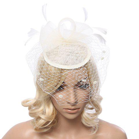 Chic Faux Feather Embellished Hollow Out Veil Cocktail Hat For Women - OFF WHITE