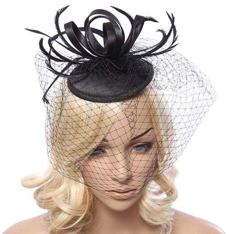 Chic Ribbon and Hollow Out Veil Embellished Elegant Cocktail Hat For Women - BLACK